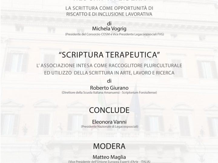 """Giovedì 27 settembre 2018: """"Scrittura Lavoro e Terapia""""  Sala Conferenze della Camera dei Deputati Palazzo Montecitorio – Roma"""